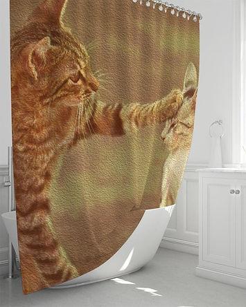 "Bath Accessories, Playful Kitty Cats Shower Curtain 72""X72"""