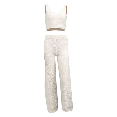 New Plush Sweater V-neck  Vest And Women Trousers two-p