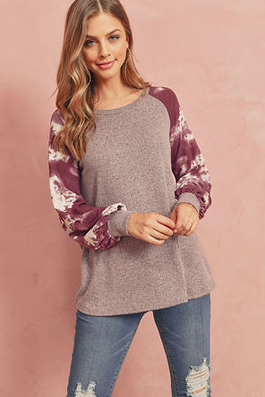 Brushed Hacci Tie Dye Puff Sleeved Top