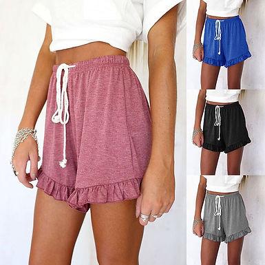 Fashion Ruffle Hem Belted Women Shorts