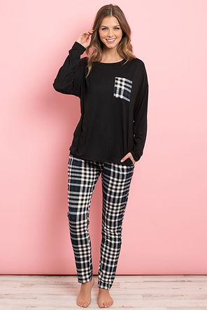 Solid Top Plaid Pocket and Joggers Set With Self Tie
