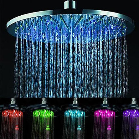 LED Light-Up Shower Head with Rain Effect