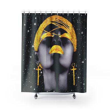 Black Goddess Shower Curtains