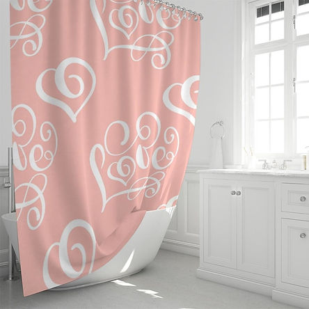"""Peach And White Love Style Shower Curtain 72""""X72"""""""