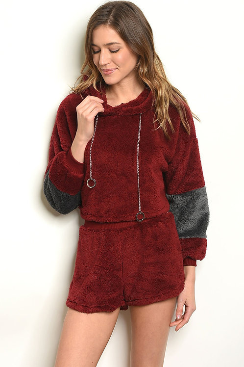 Burgandy Gray Sweater & Short Set