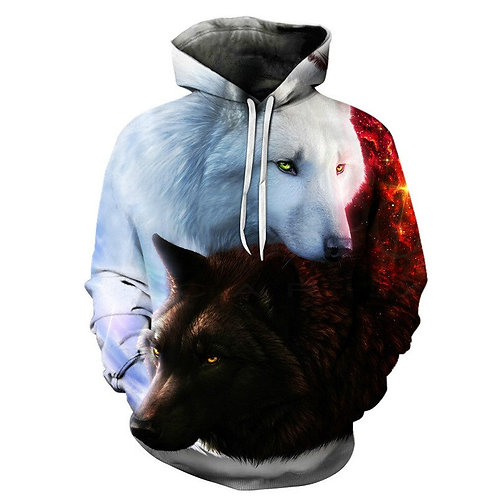 2020 New Wolf Print Men's Hoodie 3d Hooded Pullover Fashion Sportswear