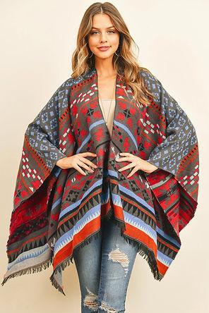 Native Pattern Open Front Kimono