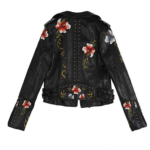 Ftlzz Women Floral Print Embroidery Soft Leather Jacket
