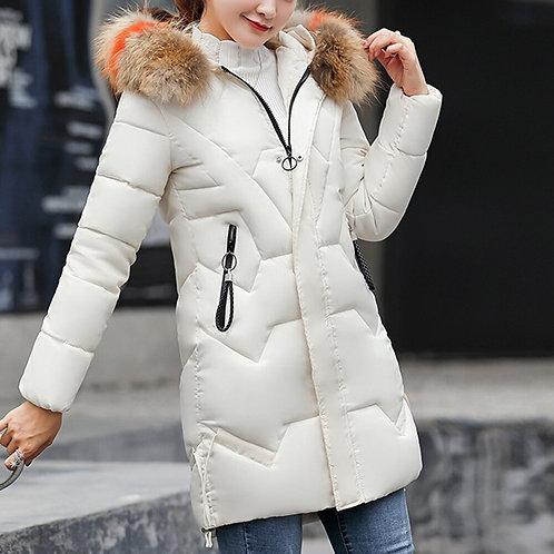 New Solid Cotton Padded Zipper Pocket Parka Lady Jacket Winter