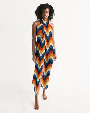 Swimsuit Coverup Womens Sheer Swimwear Geometric Print Multicolor