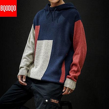 Knitted Hooded Jumper Designer Sweater Autumn Men Blue Patchwork