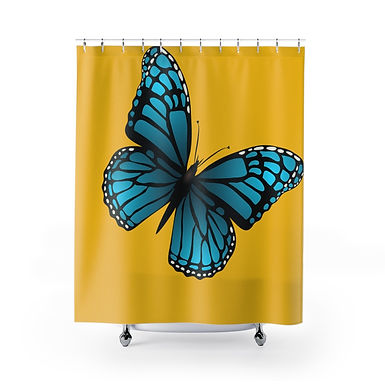Blue Butterfly Shower Curtains