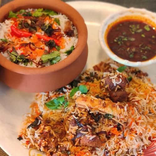 Handi Mutton Biryani with Mutton Shorba (Serves 2-3)