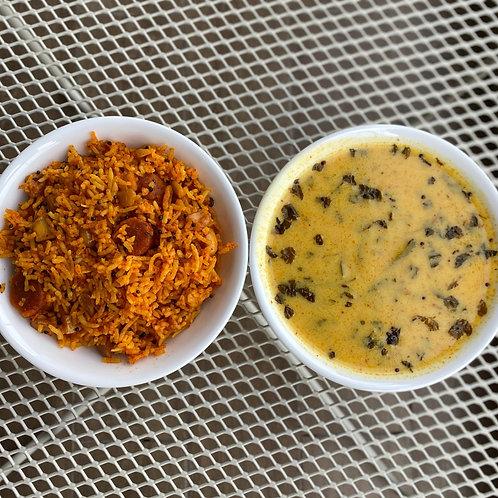 Rajasthani Gatta Rice with Kadhi