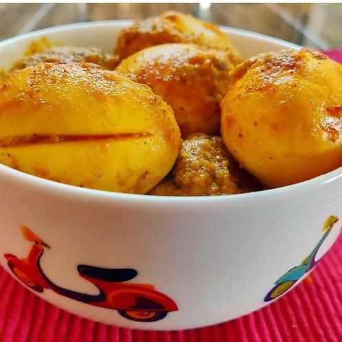 Bengali Egg Kosha with Roasted Urad Dal and Basmati Rice