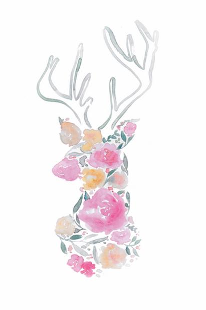 Floral Deer Print