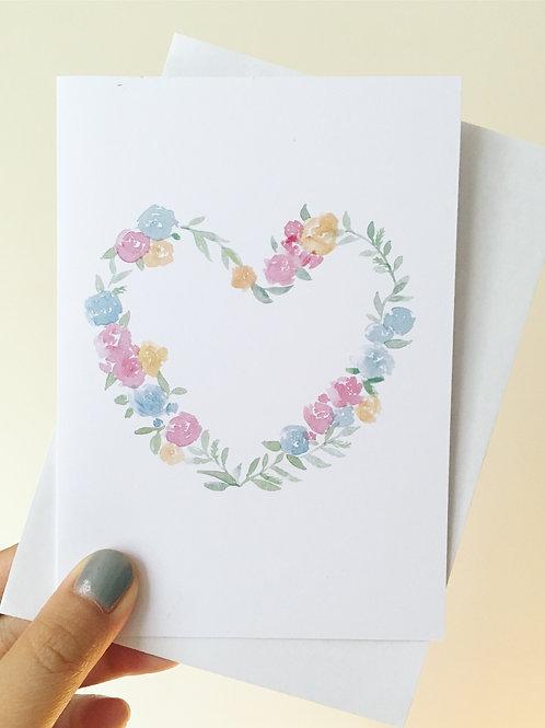 Floral Hear Card