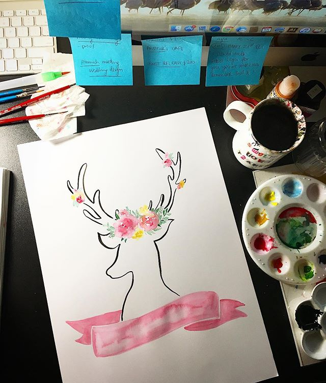 Messy table at 9pm 💗 Lots of work in progress! 😘💋 #bespokeprint #commissionart #ohdeer #busybee🐝