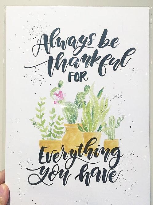 Be thankful cactus Print