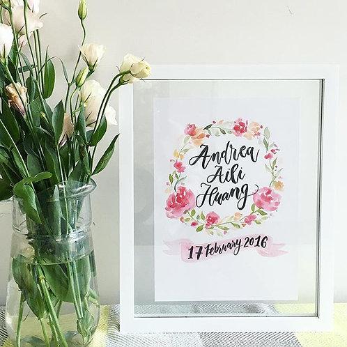 Custom Birth Print - Pink Flower (Made To Order)