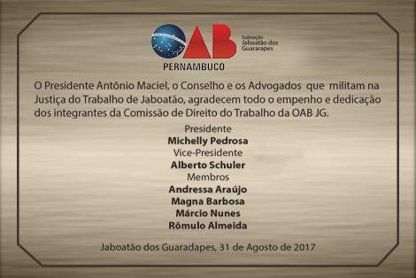 COMISSÃO DE DIREITO DO TRABALHO DA OAB JG RECEBE HOMENAGEM