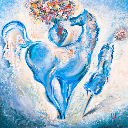 Blue Horse and Lady