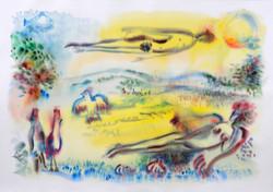 Garden of Eden 3, Watercolor_36x51