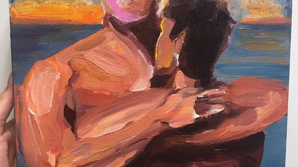 Lovers by the sea