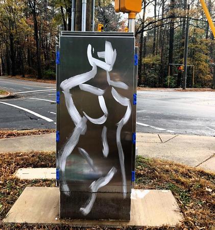 Traffic Box Mural in Durham, NC