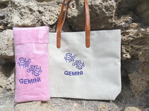 תיק זודיאק רקום+מגבת מתנה - מזל תאומים