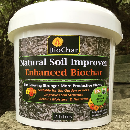 2 Litres Enhanced Biochar - Postage Included (Australia)