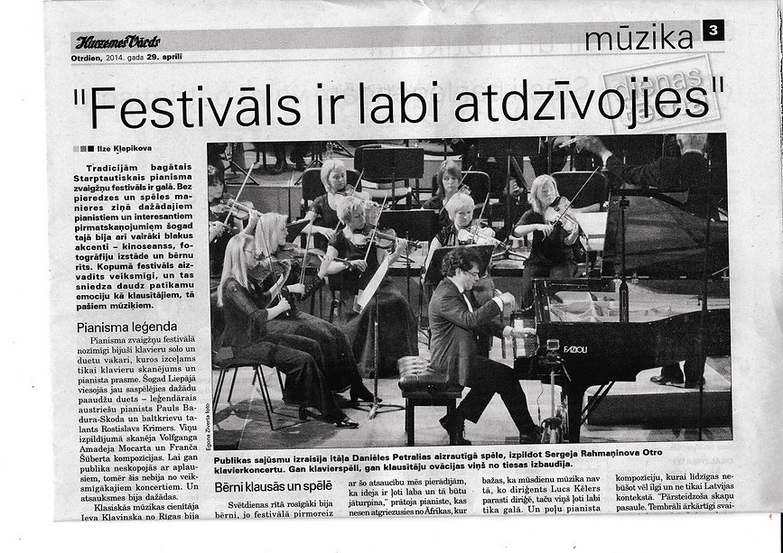 International Press Review Daniele Petralia with Liepaja Symphony Orchest a
