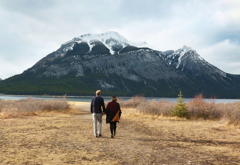 Couple walking in the mountains