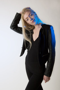 Model with blue lights
