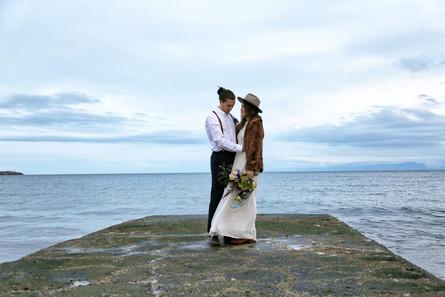 Bride and Groom by Pacific Ocean