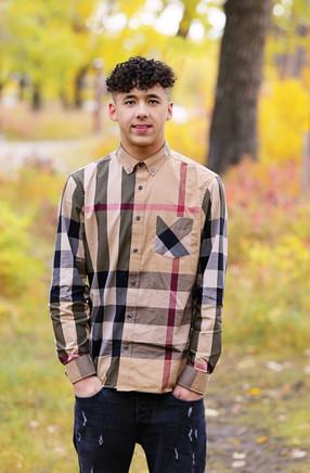 Young man having his portrait taken in Calgary