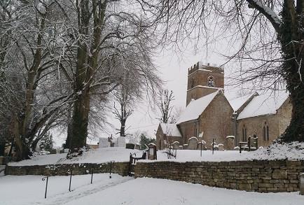 Cotswolds Snow Village Church