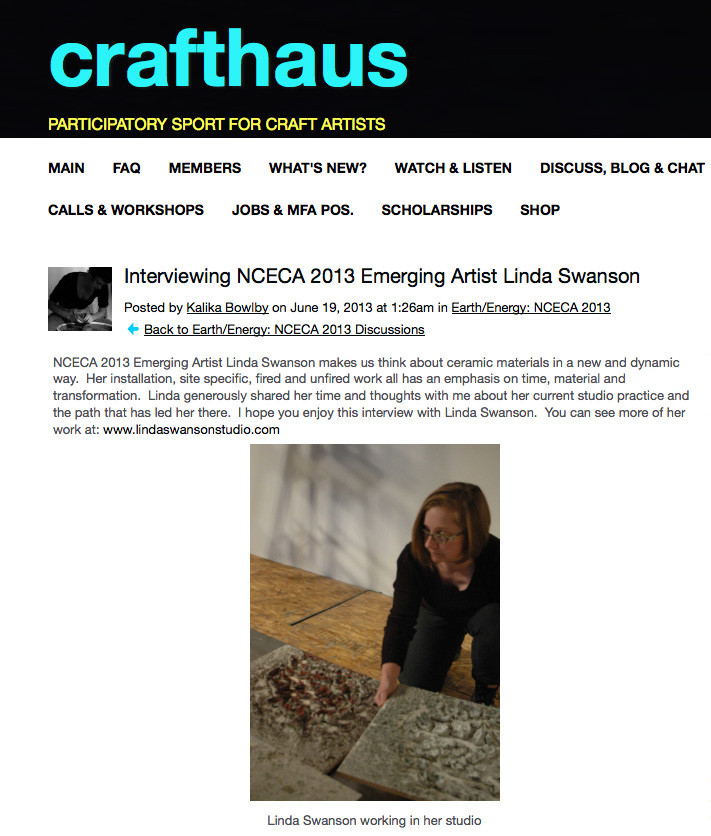 Interview on Crafthaus and NCECA Blog by Kalika Bowlby