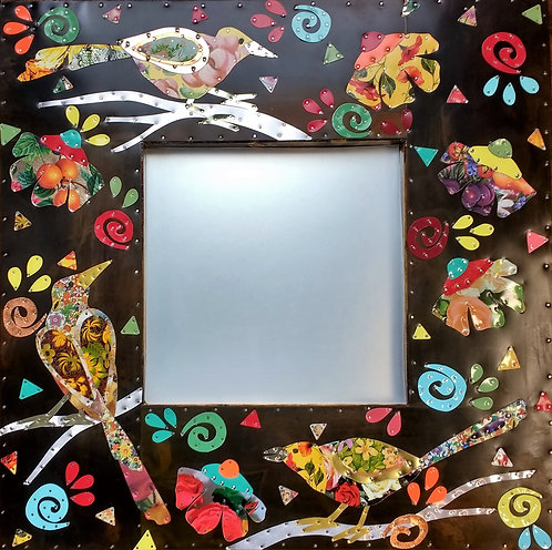 repurposed vintage tin song bird mirror