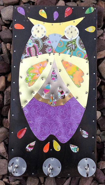 funky bright retro 60's owl art plaque hooks
