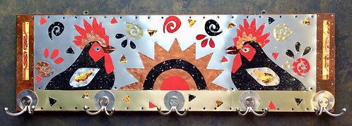 rooster crowing coat rack with copper sun and repurposed vintage tin