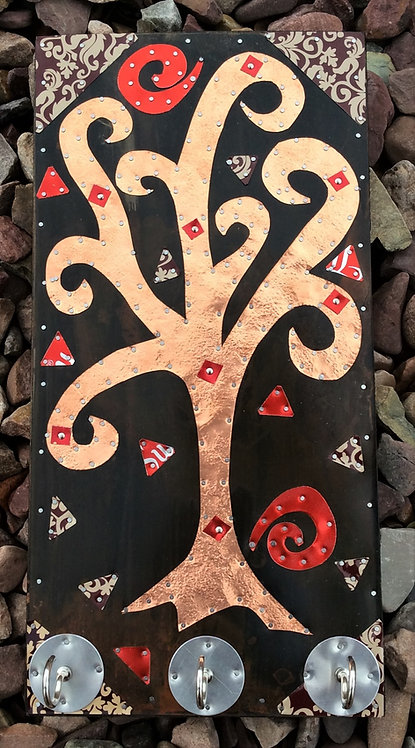 copper tree of life klimpt entryway key hook organizer