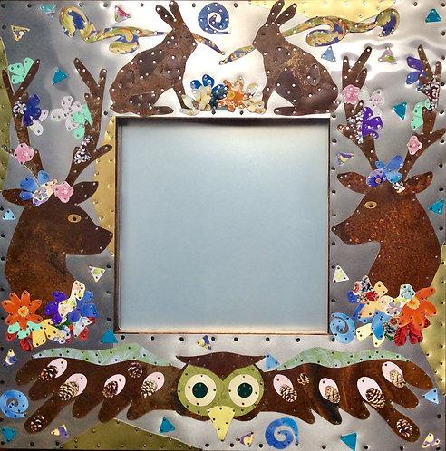 hare owl deer woodlands nursery girls upcycled metal mirror