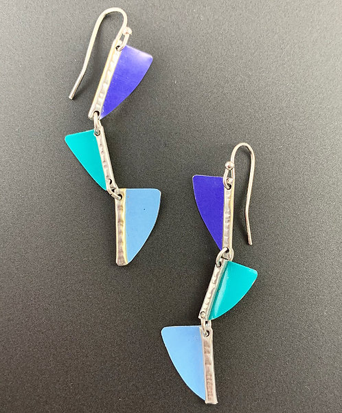 earth friendly turquoise blue purple dangle earrings
