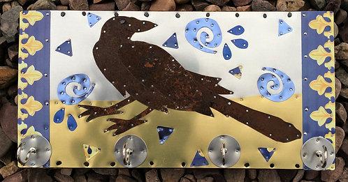salvaged rusty metal raven crow key holder