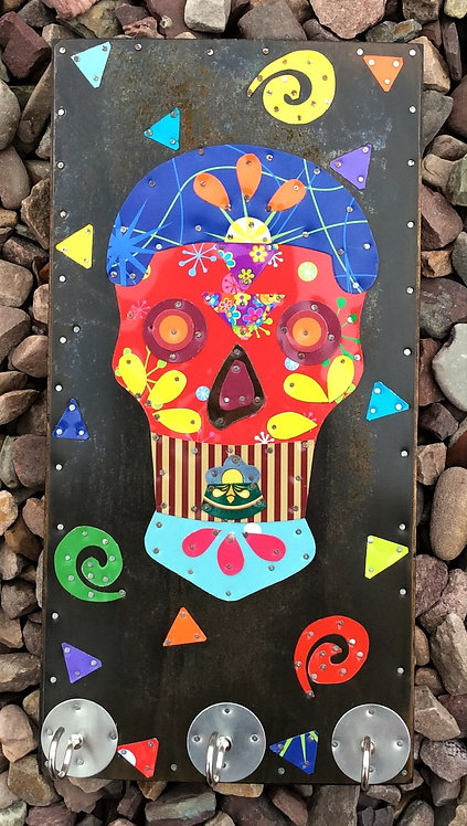 upcycled mexican tin sugar skull key hook