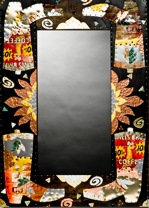 recycled coffee can rusty cowboy boot rectangular wall mirror