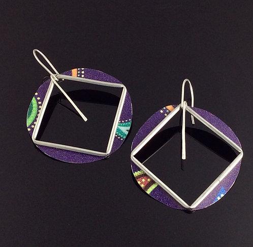 large statement square hoop purple paisley earrings