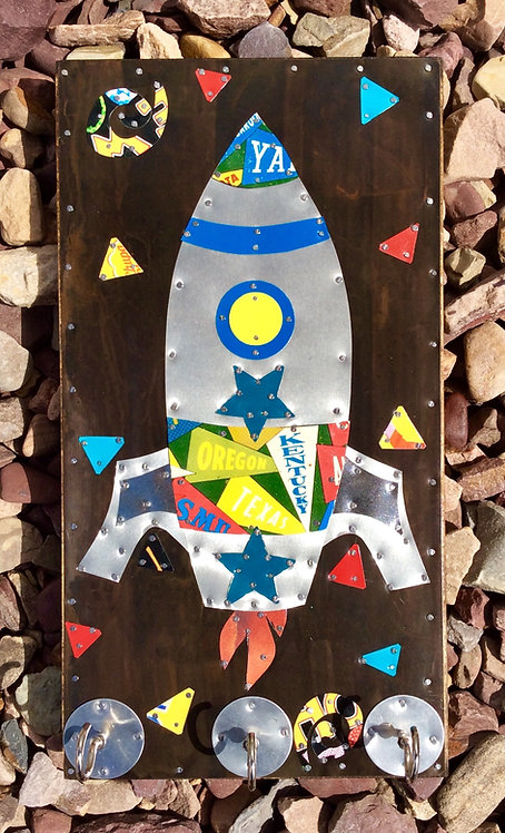 space rocket key holder made from upcycled repurposed tins