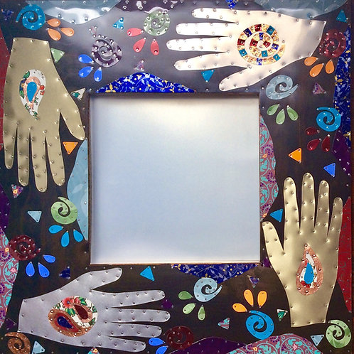 massage reiki therapy four hands recycled metal mirror
